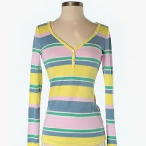 UO - BDG Pink Yellow Striped Henley Ribbed Shirt